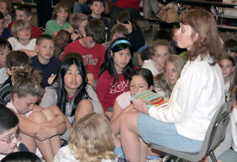 Rose Kent at a school reading